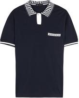 Versace Navy Piqué Cotton Polo Shirt