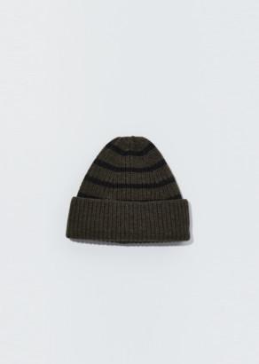 Mhl By Margaret Howell Utility Wool Stripe Rib Hat Olive / Black