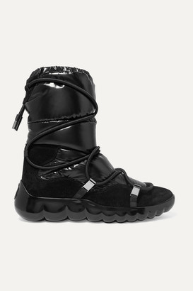 Moncler Cora Suede-trimmed Quilted Shell Ankle Boots - Black