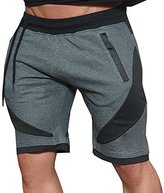 Ouber Mens Casual Slim Fit Patched String Training Shorts