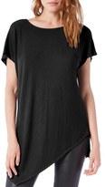 Michael Stars Women's Asymmetrical Ribbed Short Sleeve Tunic