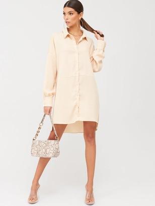 Missguided Textured Utility Shirt Dress - Peach