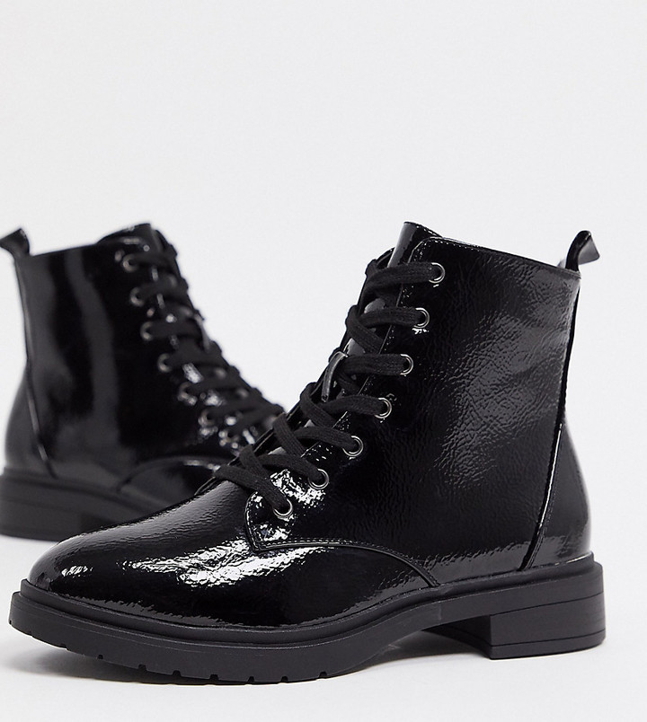 New Look Wide Fit lace up patent ankle boots in black