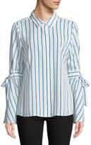 Karl Lagerfeld Paris Striped Bell-Sleeve Button-Down Shirt