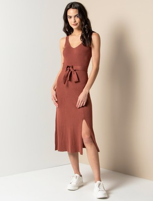 Forever New Colette Fit and Flare Midi Knit Dress - Rust - 10