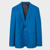 Paul Smith Men's Slim-Fit Turquoise Check Wool-Linen and Silk-Blend Blazer