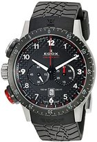 Edox Men's 10305 3NR NR Chronorally Stainless Steel Watch With Black Rubber Band
