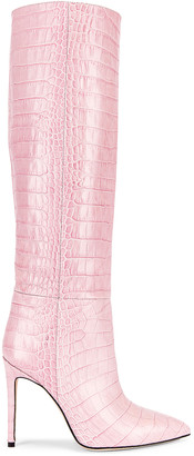 Paris Texas Soft Moc Croco Tall Boot Stiletto Heel in Pink | FWRD