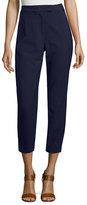 Veronica Beard Slim Cropped Cigarette Pants, Navy