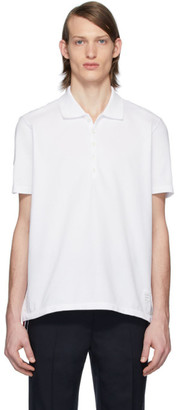 Thom Browne White Center-Back Stripe Polo