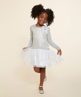 Dollie & Me Gray & Silver Skater Dress & Doll Dress - Girls