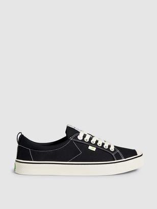 Cariuma OCA Low Stripe Washed Black Canvas Contrast Thread Sneaker Men