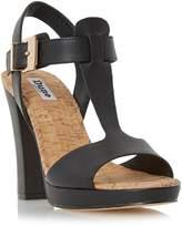 Dune London ISMIN - BLACK Cork Detail T-bar Leather Sandal