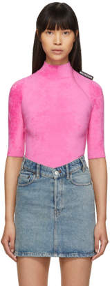 Balenciaga Pink Velvet Short Sleeve Turtleneck
