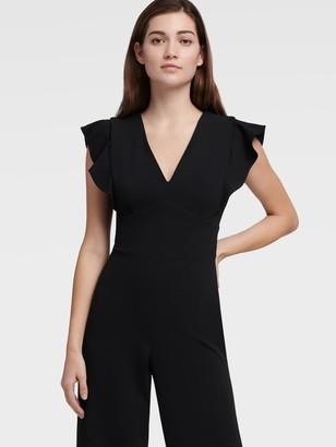 DKNY V-neck Ruffle Cap Sleeve Jumpsuit