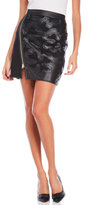 Ports 1961 Faux Leather Appliqué Mini Skirt