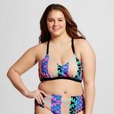 Xhilaration Women's Plus Size Strappy Back Triangle Bikini Top Black Juniors')