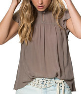 O'Neill Chandler Lace Yoke Mock Neck Flutter-Sleeve Peasant Top