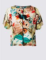 Marks and Spencer PLUS Printed Kimono Half Sleeve Shell Top