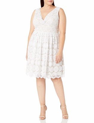 Adrianna Papell Women's Size Plus Deep Vneck Fit and Flare Medallion Lace