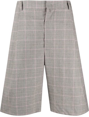 Maison Flaneur Tailored Check Print Long Shorts
