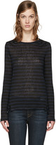 Frame Navy and Black Striped Pintuck T-shirt