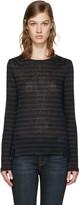 Frame Navy & Black Striped Pintuck T-Shirt