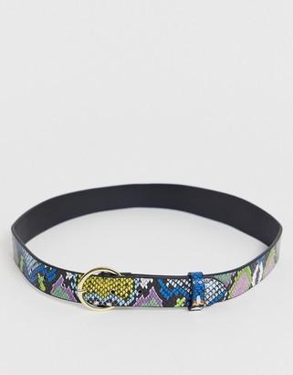 ASOS DESIGN multi color snake print waist and hip belt