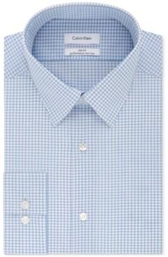 Calvin Klein Men's Steel Slim-Fit Non-Iron Performance Stretch Blue Check Dress Shirt