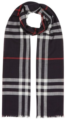 Burberry Lightweight Check Wool-Silk Scarf