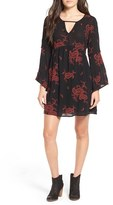 Way-In Embroidered Paisley Keyhole Shift Dress
