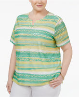 Alfred Dunner Plus Size Bahama Bay Collection Embellished Striped Top
