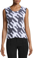 Ming Wang Houndstooth Scoop-Neck Tank, Black/White