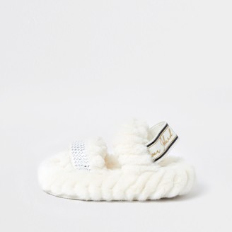 River Island Mini girls Cream RI faux fur slippers