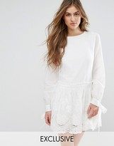 Missguided Broderie Tie Sleeve Smock Dress