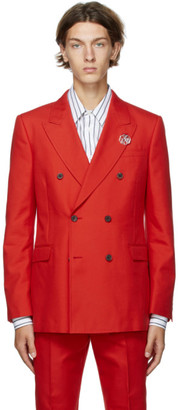 Alexander McQueen Red Panama Brooch Blazer