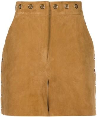 Alberta Ferretti Suede Eyelet-Embellished Shorts
