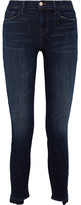 J Brand Distressed Mid-rise Skinny Jeans - Dark denim