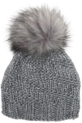 Kyi Kyi Cable Knit Faux Fur Pom Beanie