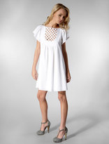 Cotton Linen Short Sleeve Lattice Dress in White