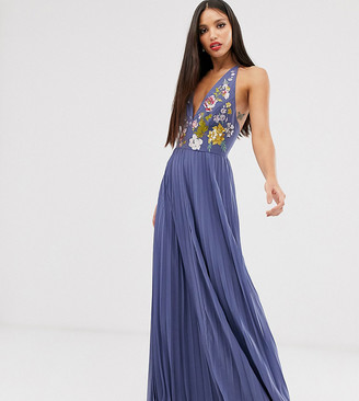 Asos DESIGN Tall halter maxi dress with pleated skirt and embroidery