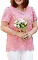 MSSHE Women's Elegant Loose Long Sleeve Sheer Floral Lace Blouse Plus
