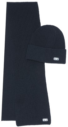 Emporio Armani Kids Virgin wool hat and scarf set