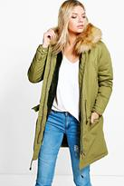 Boohoo Boutique Isla Parka With Faux Fur Lining