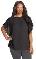 Sejour Plus Size Women's Sheer Flutter Sleeve Blouse