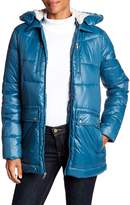 Kenneth Cole New York Faux Shearling Lined Hood Down Jacket