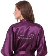 JOYTTON Women's Satin Kimono Robe with Embroidered Bridesmaid XXL