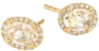 Ef Collection 14K Yellow Gold, Topaz & Diamond Oval Stud Earrings