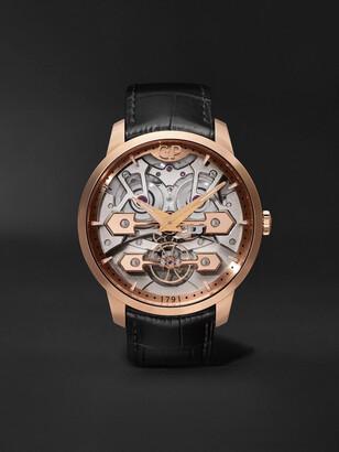 Girard Perregaux Classic Bridges Automatic Skeleton 45mm Rose Gold And Alligator Watch