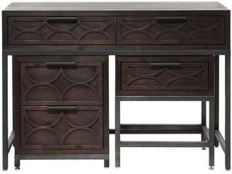 "Studio 350 3-Piece Dark Wood Desk and Cabinet Unit with Carved Accents 45"" x 32"" - 45 x 16 x 32"